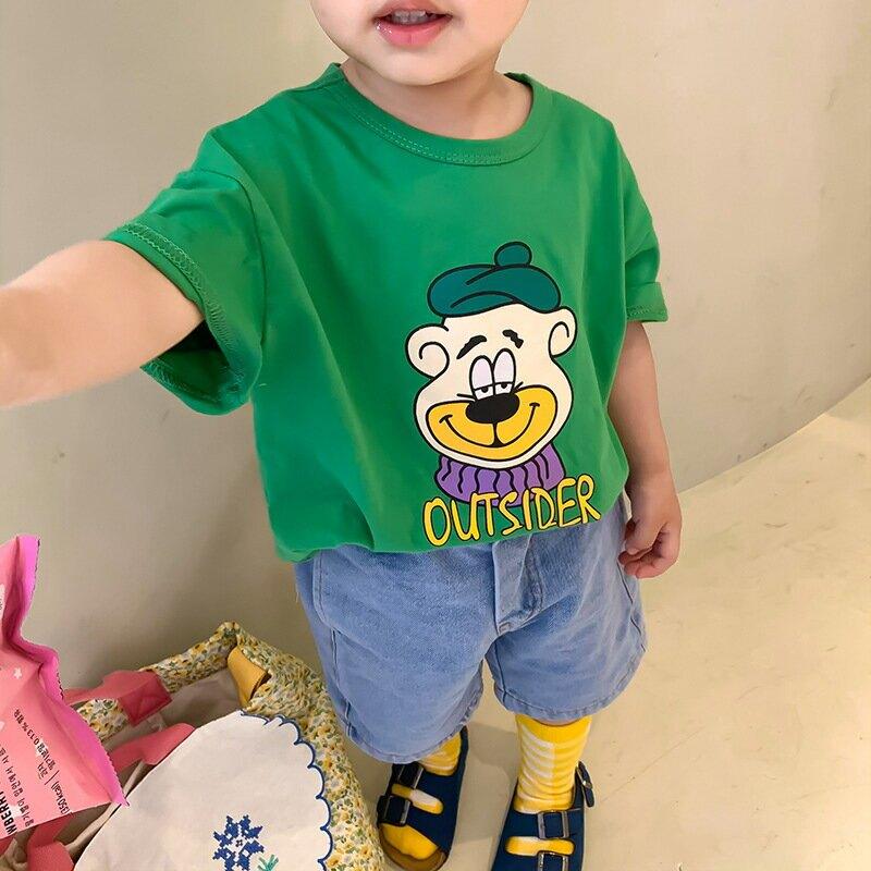 童裝2021夏季新款韓版男女童卡通印花T恤兒童短袖可愛T恤
