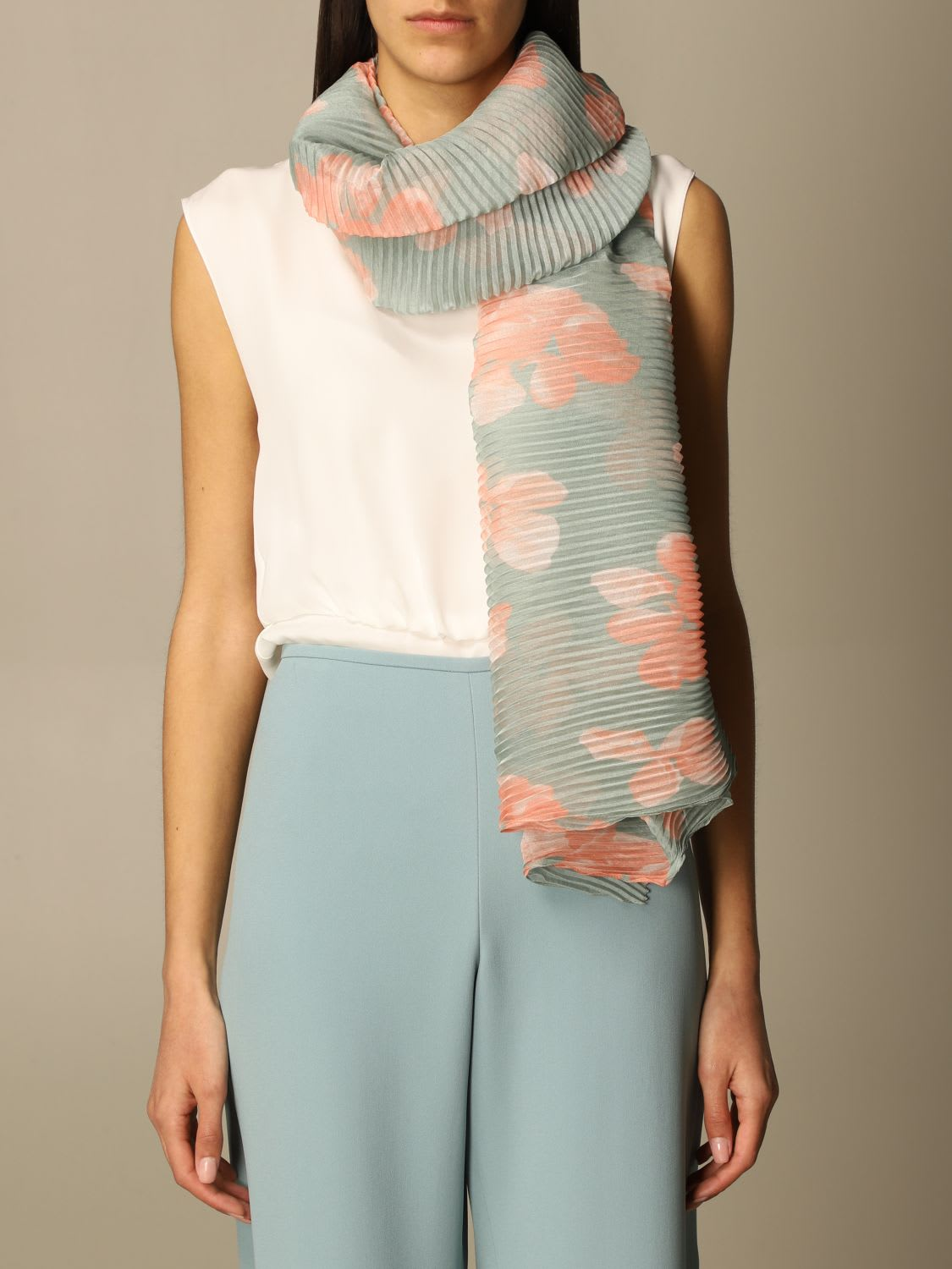Emporio Armani Scarf Emporio Armani Pleated Foulard With Floral Pattern