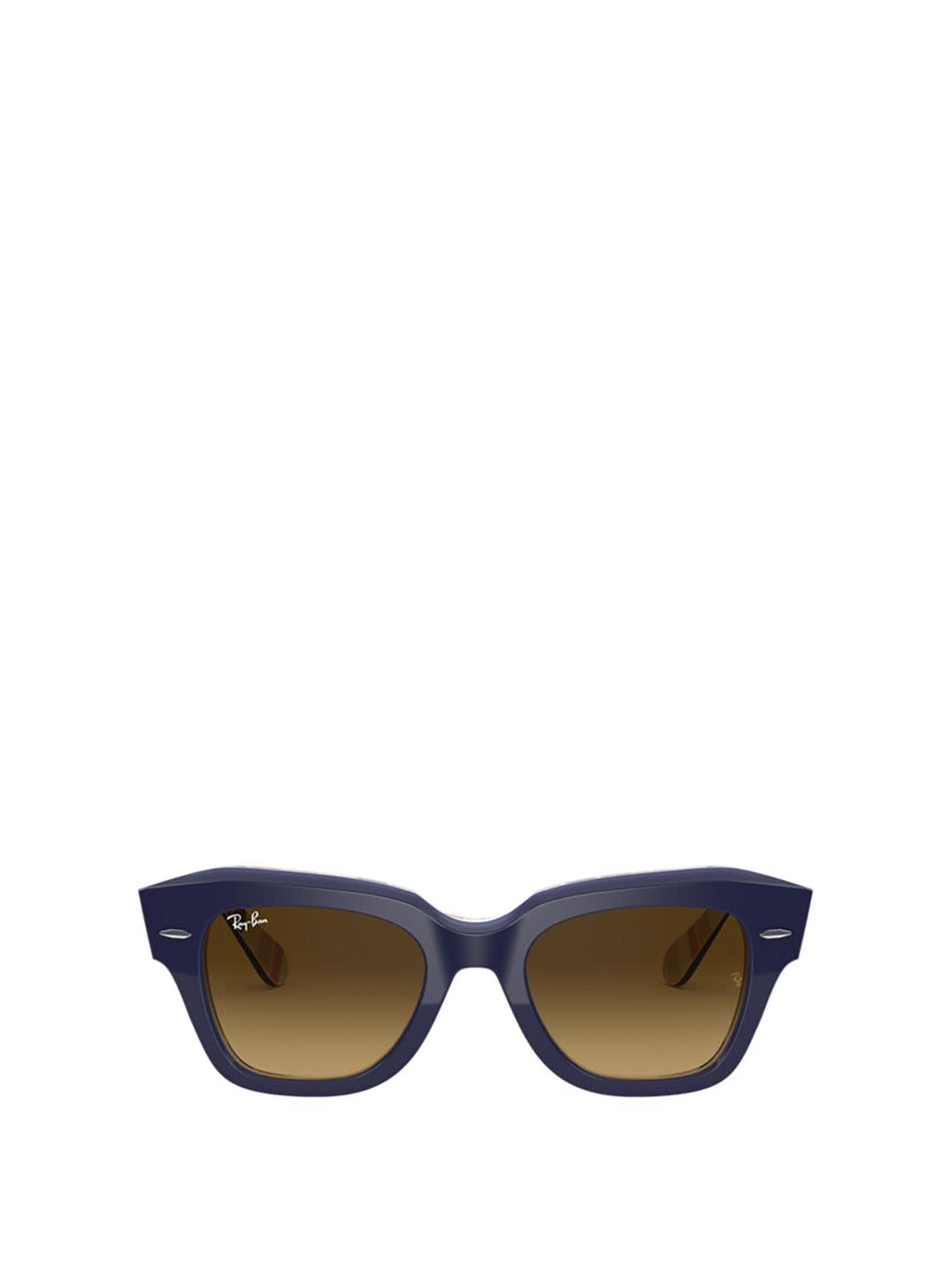 Ray-Ban Ray-ban Rb2186 Blue On Stripes Orange / Blue Sunglasses