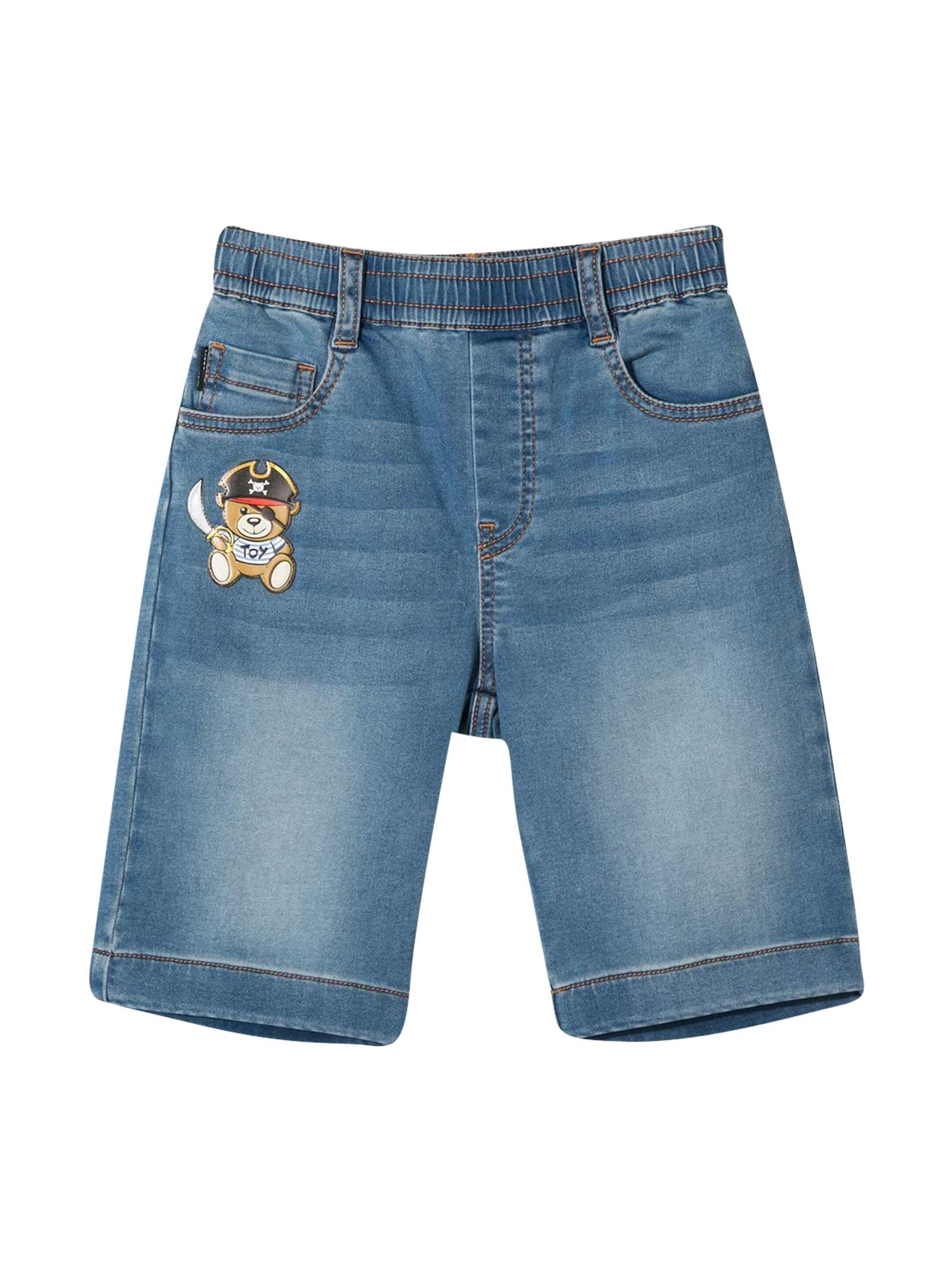 Moschino Denim Bermuda With Applications