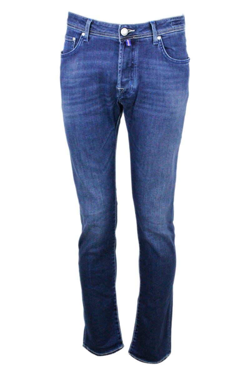 Jacob Cohen Natural Indigo 5-pocket Stretch Denim Jeans With Buttons And Stitching In Contrasting Co