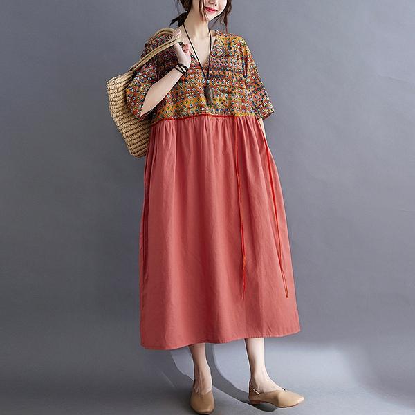 胖妹妹大碼洋裝連身裙~棉麻洋裝~~大碼女裝文藝復古印花系帶連身裙8305.FFA28莎菲娜