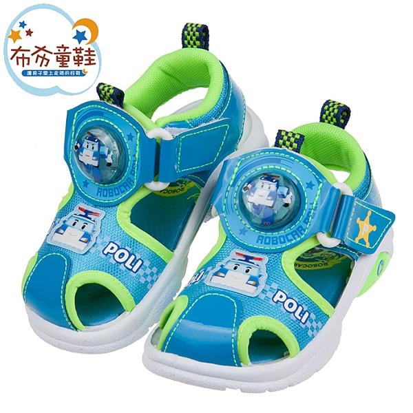 《布布童鞋》POLI救援小英雄波力x藍綠自黏兒童電燈護趾涼鞋(15~19公分) [ B1H216B ]