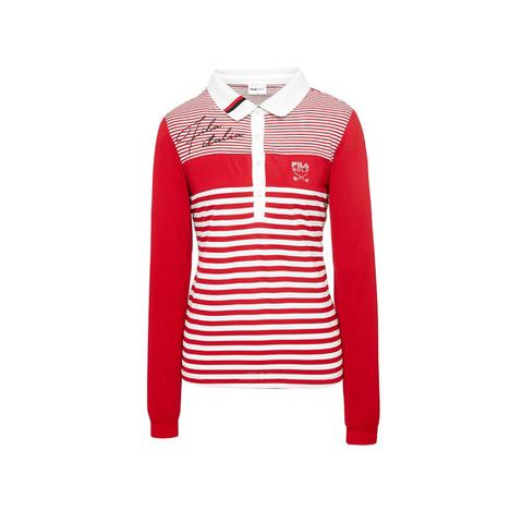 FILA GOLF 女長袖POLO衫-紅 5POU-6126-RD