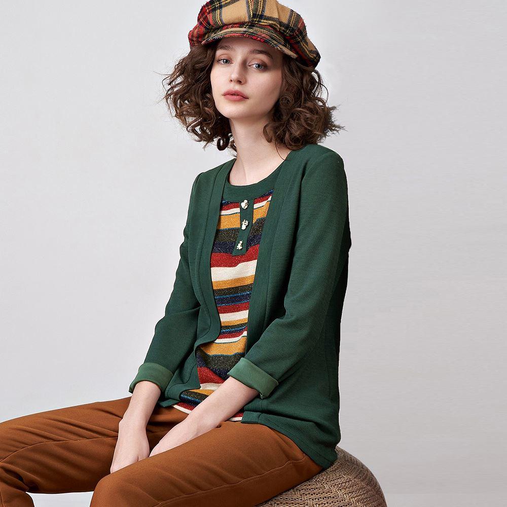 ILEY伊蕾 假兩件細紋彈性輕奢感上衣(綠)051107
