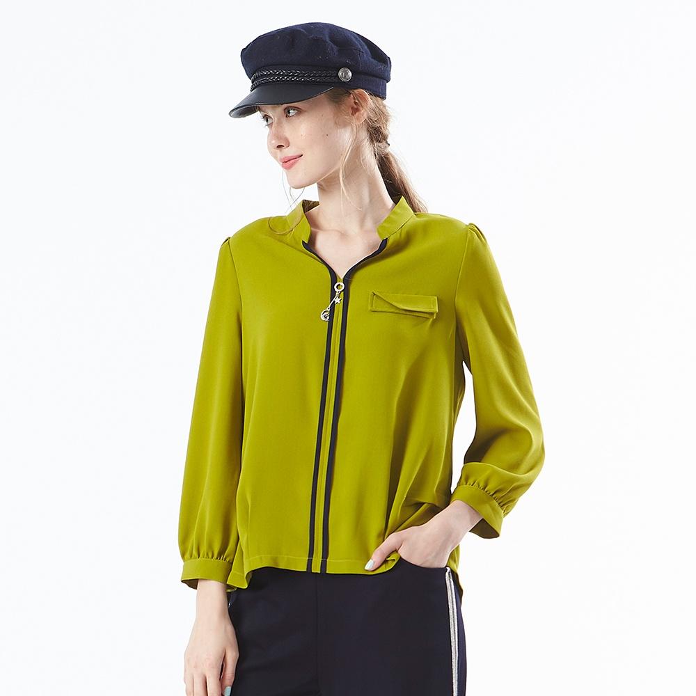 【麥雪爾】跳色門襟造型口袋雪紡上衣-芥末綠