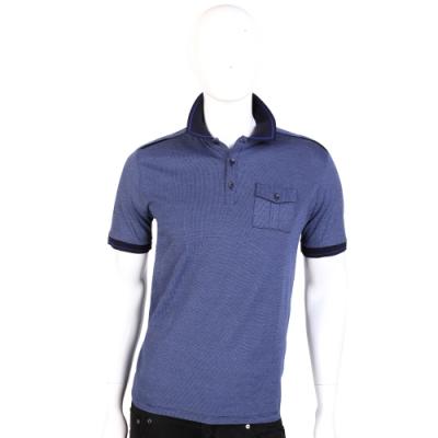 VERSACE 藍色拼接設計短袖POLO衫
