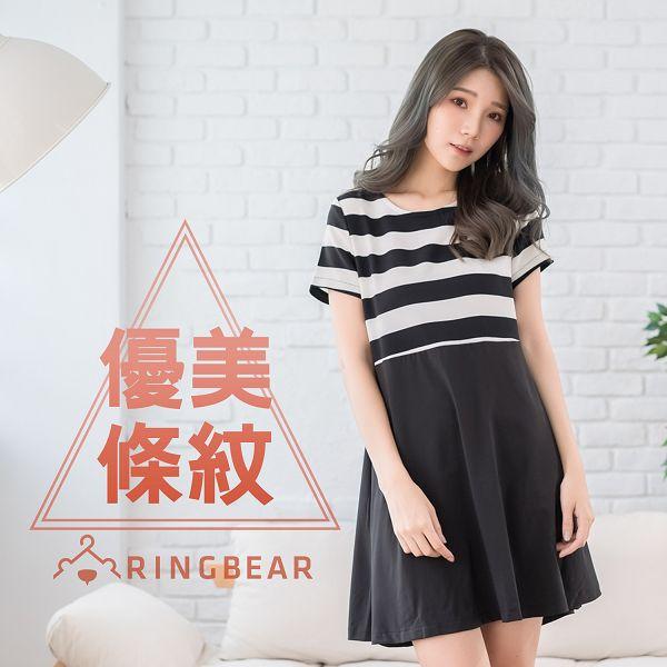 洋裝--名媛氣質立體剪裁黑白粗節條紋拼接圓領傘襬短袖連身裙(黑XL-5L)-D329眼圈熊中大尺碼