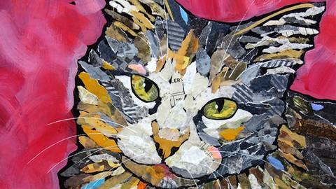 Paper Mosaic Collage Cat Portraits