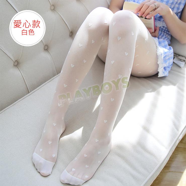 玩愛繽紛連褲絲襪(愛心)白色