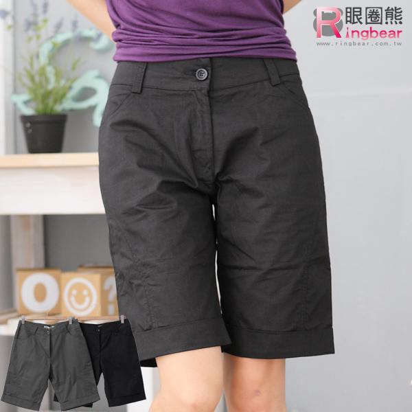 五分褲--完美修飾前斜車線下擺反折素面五分褲(黑.灰M-6L)-R84眼圈熊中大尺碼
