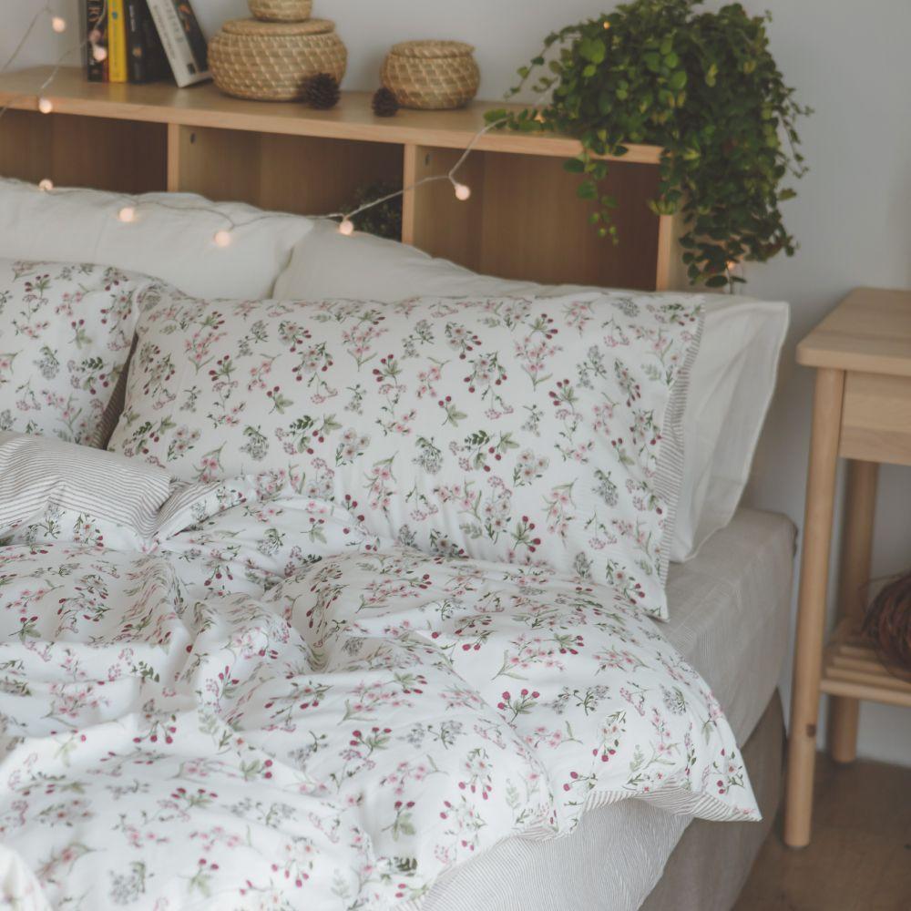 床包被套組(鋪棉兩用被套)-特大 / 100% 精梳純棉 / 茉莉