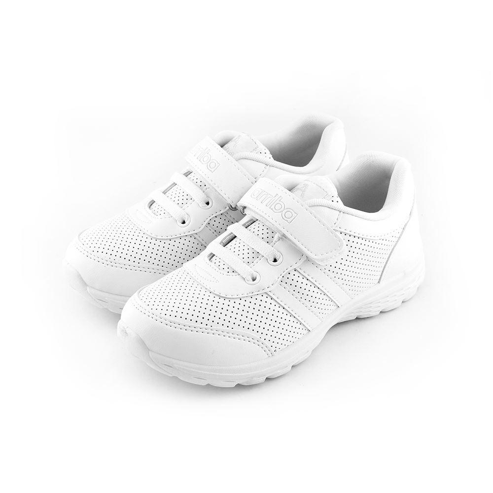 ARRIBA艾樂跑童鞋-魔鬼氈皮質休閒鞋-白(TD6265)