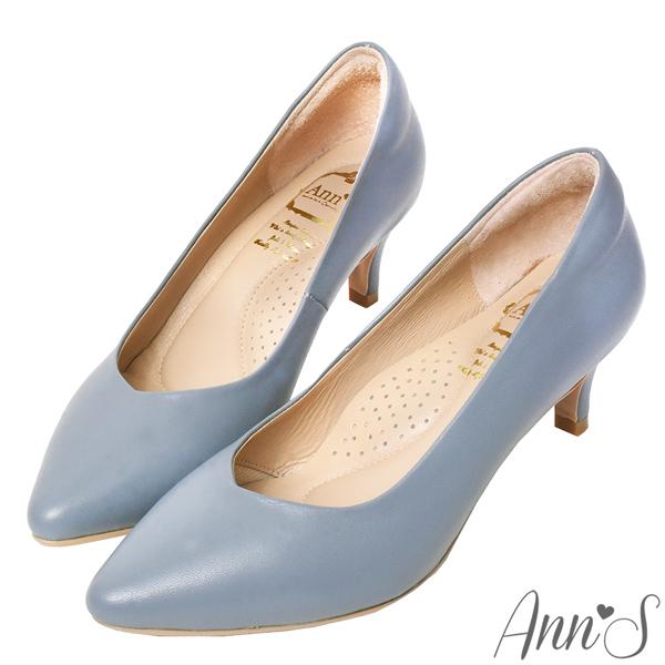 ❀足弓系列第二件88折❀Ann'S舒適療癒系低跟版-V型美腿綿羊皮尖頭跟鞋6cm-藍(版型偏小)