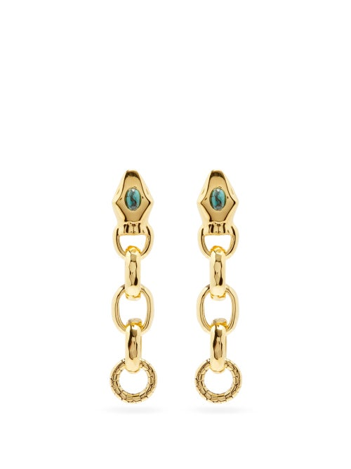 Aurélie Bidermann - Tao 18kt Gold-plated Snake Earrings - Womens - Blue Gold