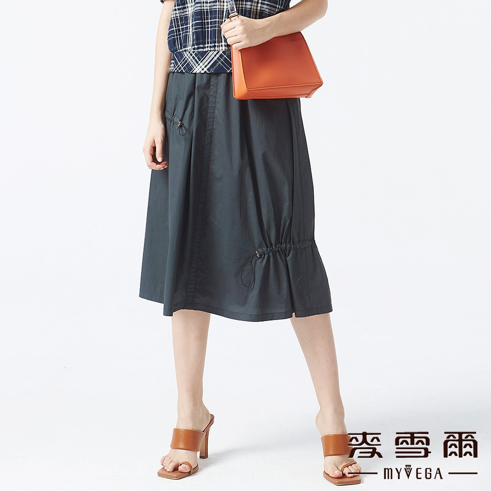 【麥雪爾】純棉鬆緊素面長裙-綠