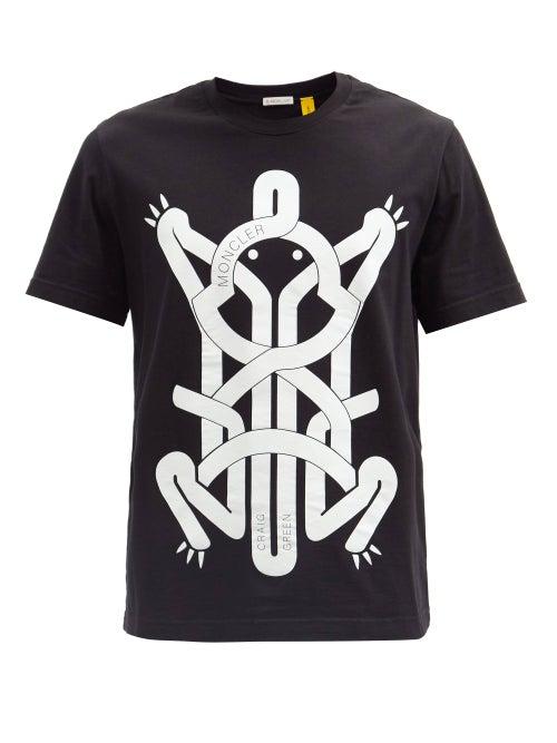 5 Moncler Craig Green - Frog-print Cotton-jersey T-shirt - Mens - Black
