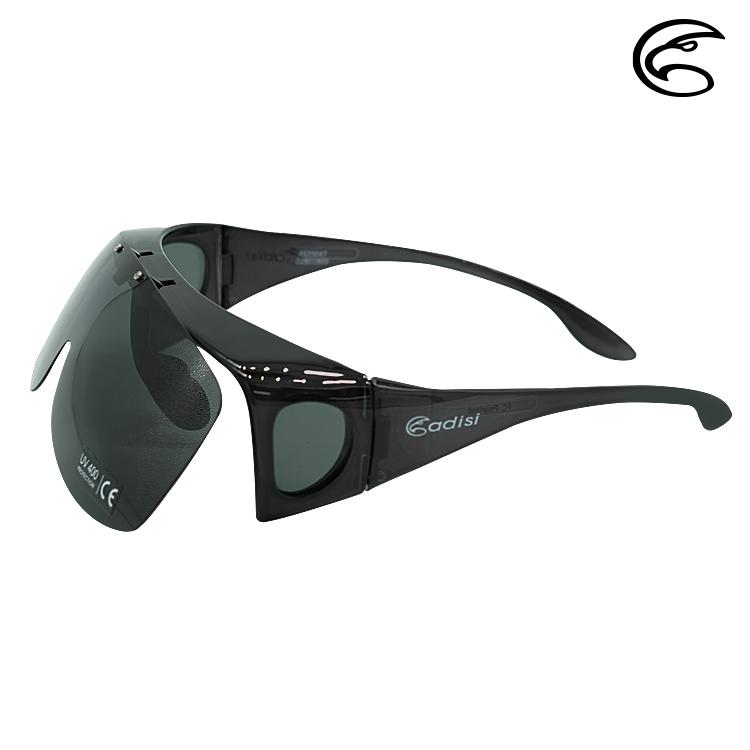 ADISI 掀蓋式偏光太陽眼鏡 AS20047 / 黑灰片 (透明亮黑框)