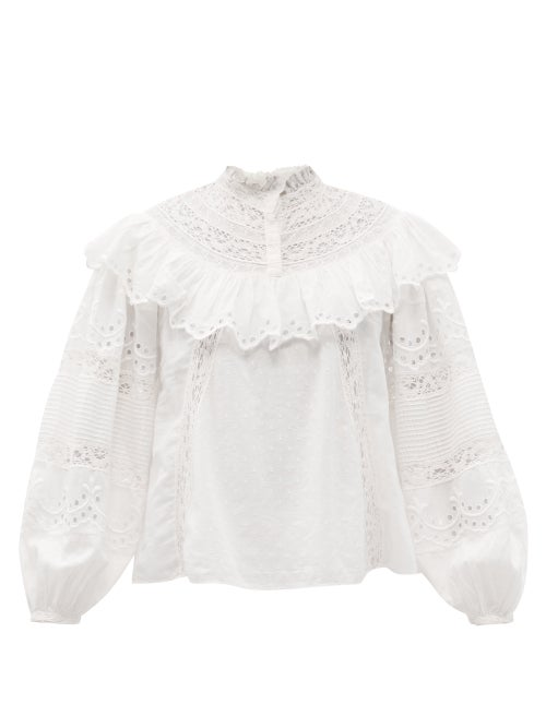 Loveshackfancy - Orlando Lace & Broderie-anglaise Cotton Blouse - Womens - White