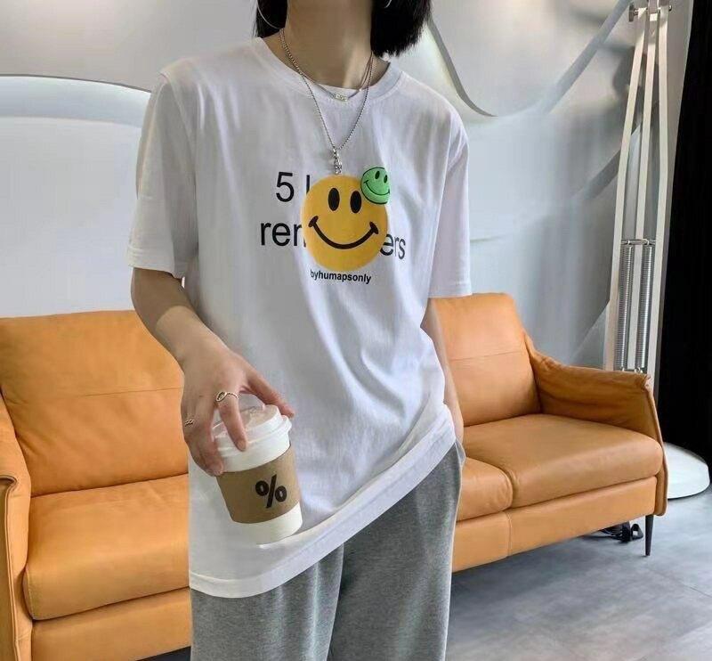 莉之綺雙笑臉印花圓領白色短袖t恤寬鬆洋氣韓版打底衫上衣110609