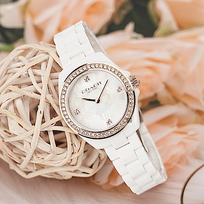 COACH 花兒晶鑽陶瓷女錶(CO14503662)-34mm
