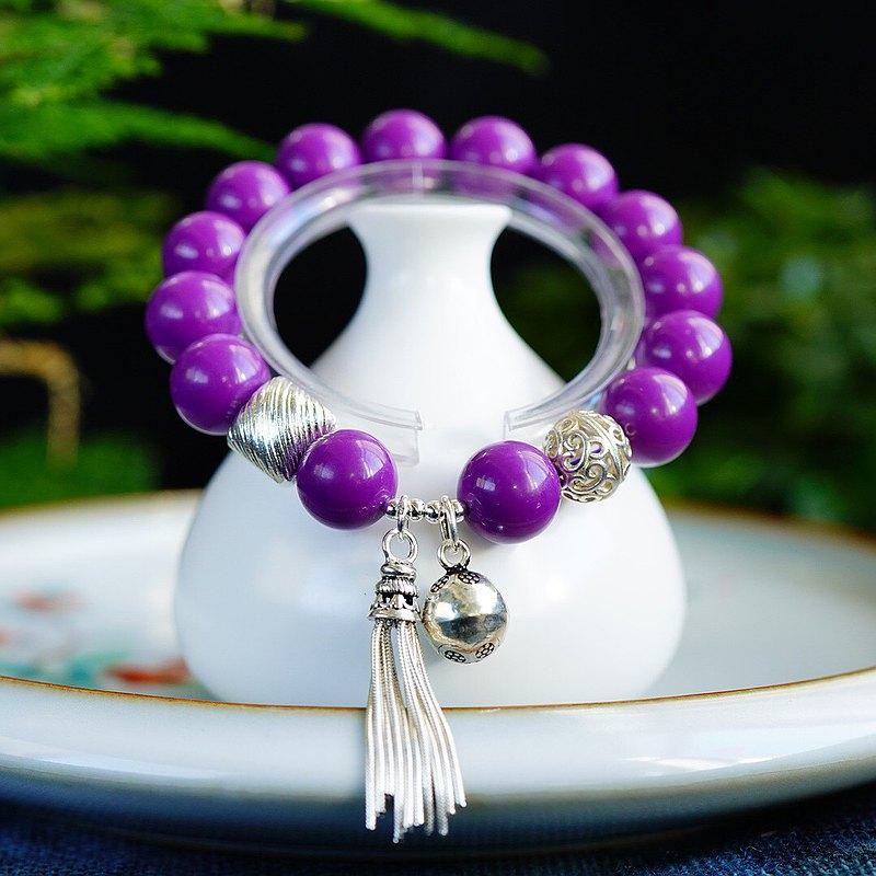 極品天然美國紫云母12MM手鏈 成色非常棒 上手美麗