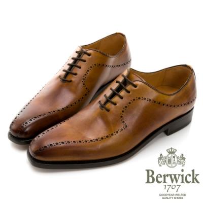 BERWICK西班牙進口-固特異工藝WHOLE CUT時尚尖頭渲染流線紳士鞋 -棕 535042KM