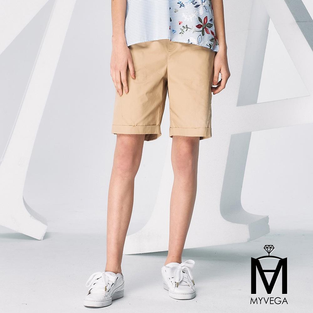 【麥雪爾】MA純棉趣味五分短褲-卡其