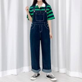 韓國空運 - Wide denim stitching suspenders trousers 牛仔褲