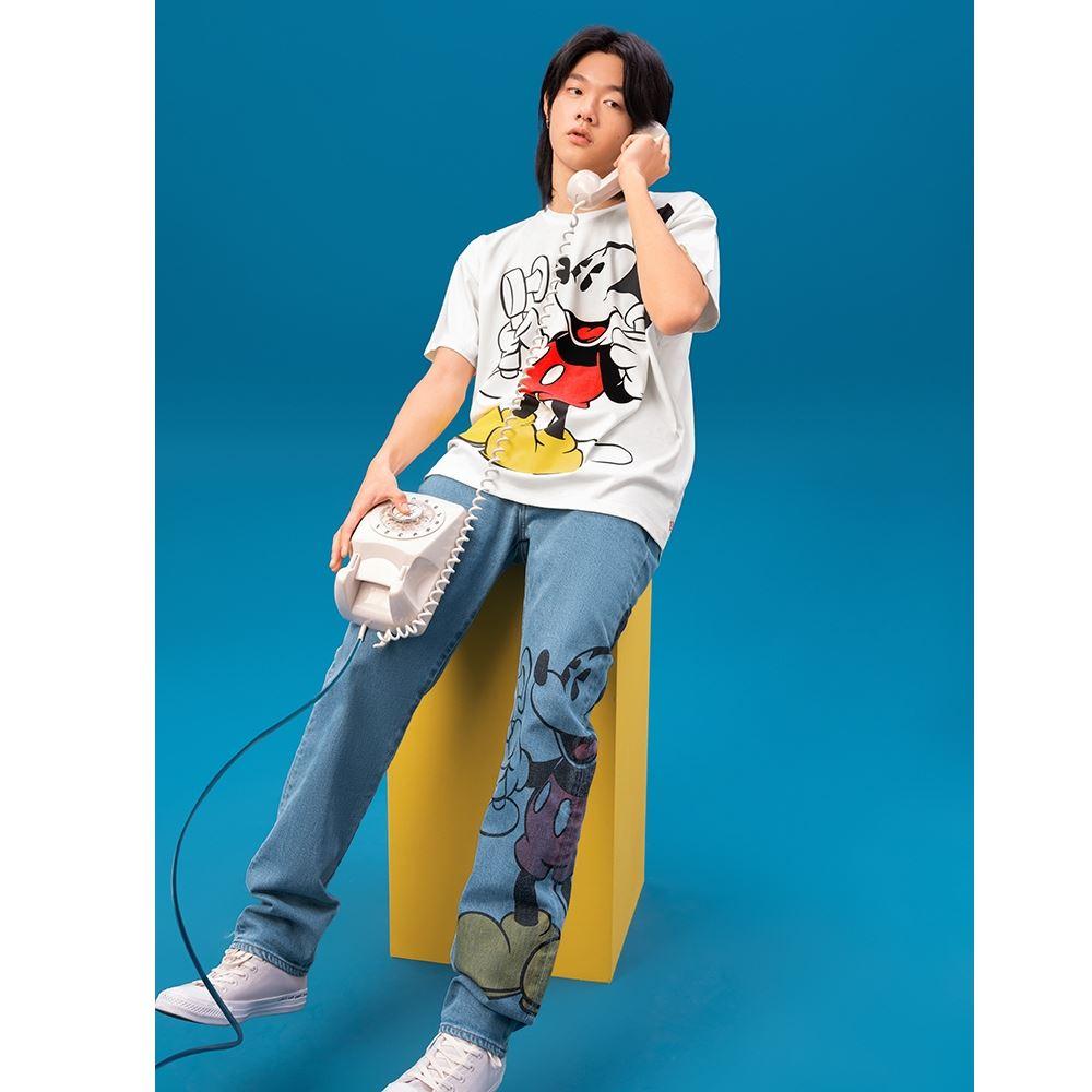 Levis X Disney 合作系列 男款 502 上寬下窄牛仔褲 / 米奇印花 / 彈性布料-熱銷單品