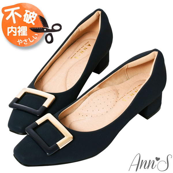 ❀足弓系列第二件88折❀Ann'S真的很舒服-金色電鍍方扣粗跟小方頭鞋3.5cm-黑(版型偏小)
