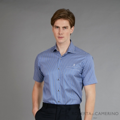 ROBERTA諾貝達 台灣製 進口素材 夏日型男 魅力休閒條紋短袖襯衫 藍色
