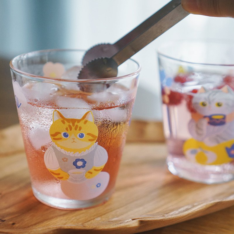 妙吉MEWJI原創插畫可愛玻璃杯水杯貓咪下午茶印花黃橘貓款