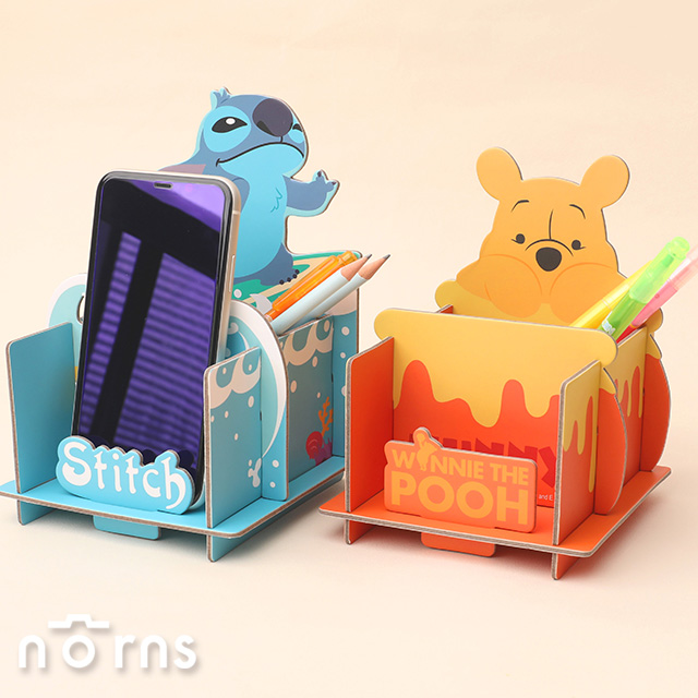 迪士尼DIY造型置物架- Norns 正版授權 雙層組合式收納盒 手機架 三眼怪 史迪奇 奇奇蒂蒂 小熊維尼