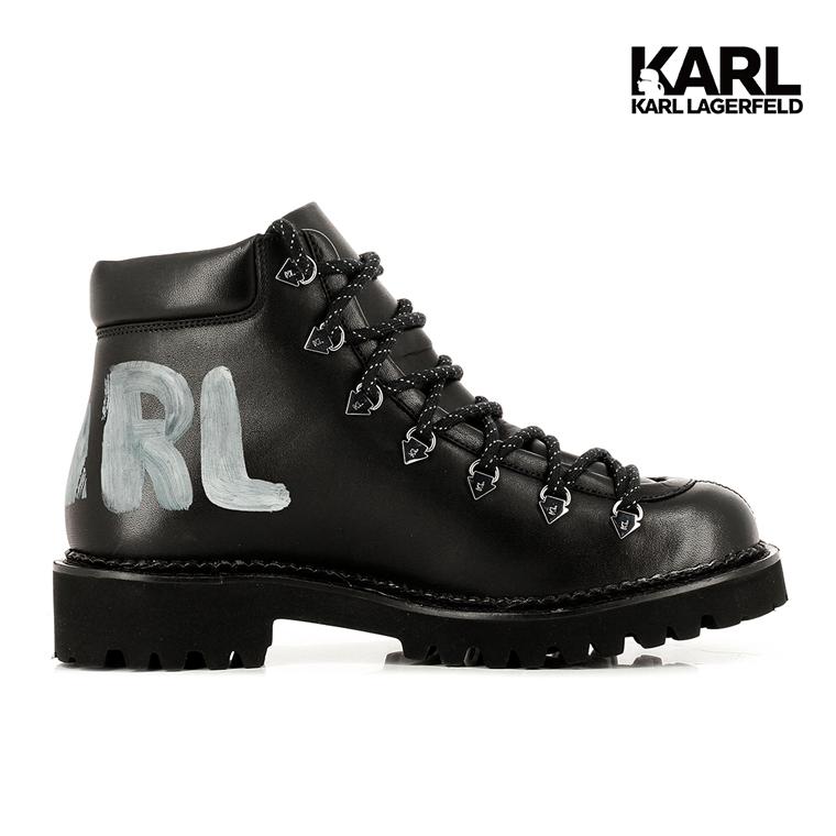 【KARL LAGERFELD】KADET II 筆刷LOGO短靴-黑(原廠公司貨)