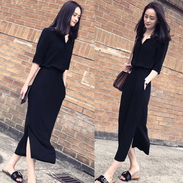 S-XL時尚V領開叉收腰短袖連身裙-優美依戀