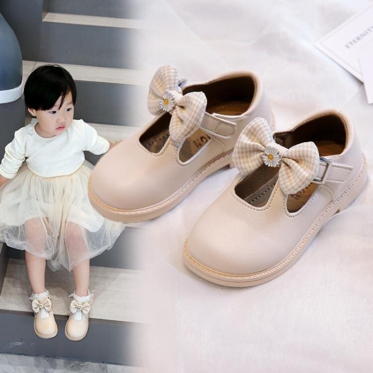 女童皮鞋2021春新款韓版蝴蝶結軟底防滑公主鞋百搭寶寶兒童單鞋潮 愛尚優品
