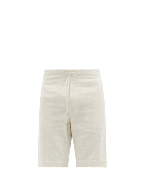 11.11 / Eleven Eleven - Drawstring Cotton Shorts - Mens - Cream