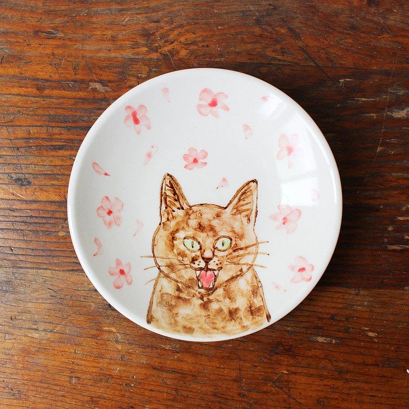 櫻花和玳瑁貓 小皿