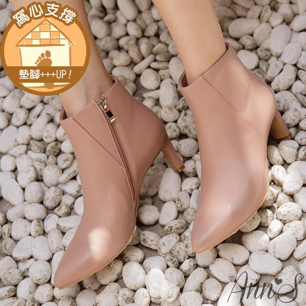 ❀足弓系列第二件88折❀Ann'S這是主打款-小羊皮扁跟6公分尖頭短靴-粉
