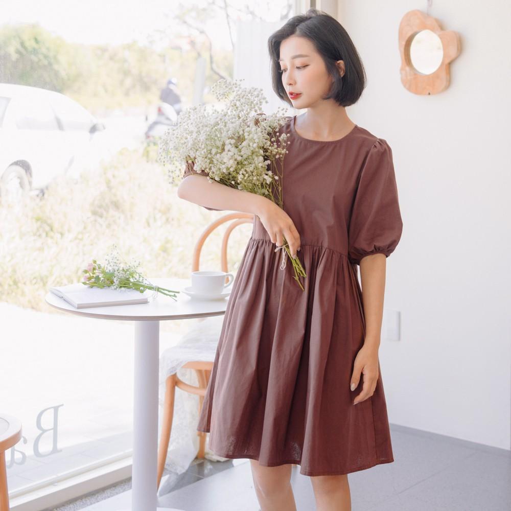 高含棉造型後開襟小拋袖洋裝 《DA8384》