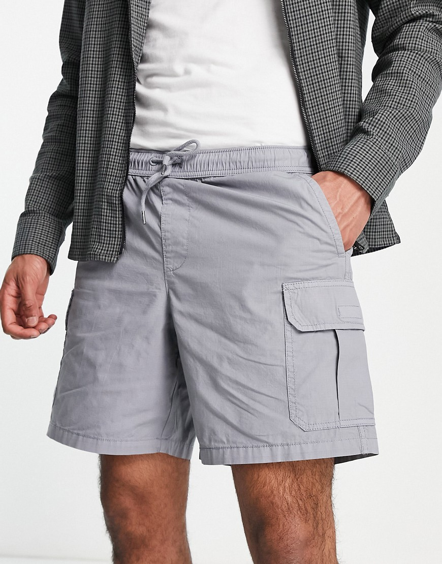 New Look pull on cargo shorts in grey