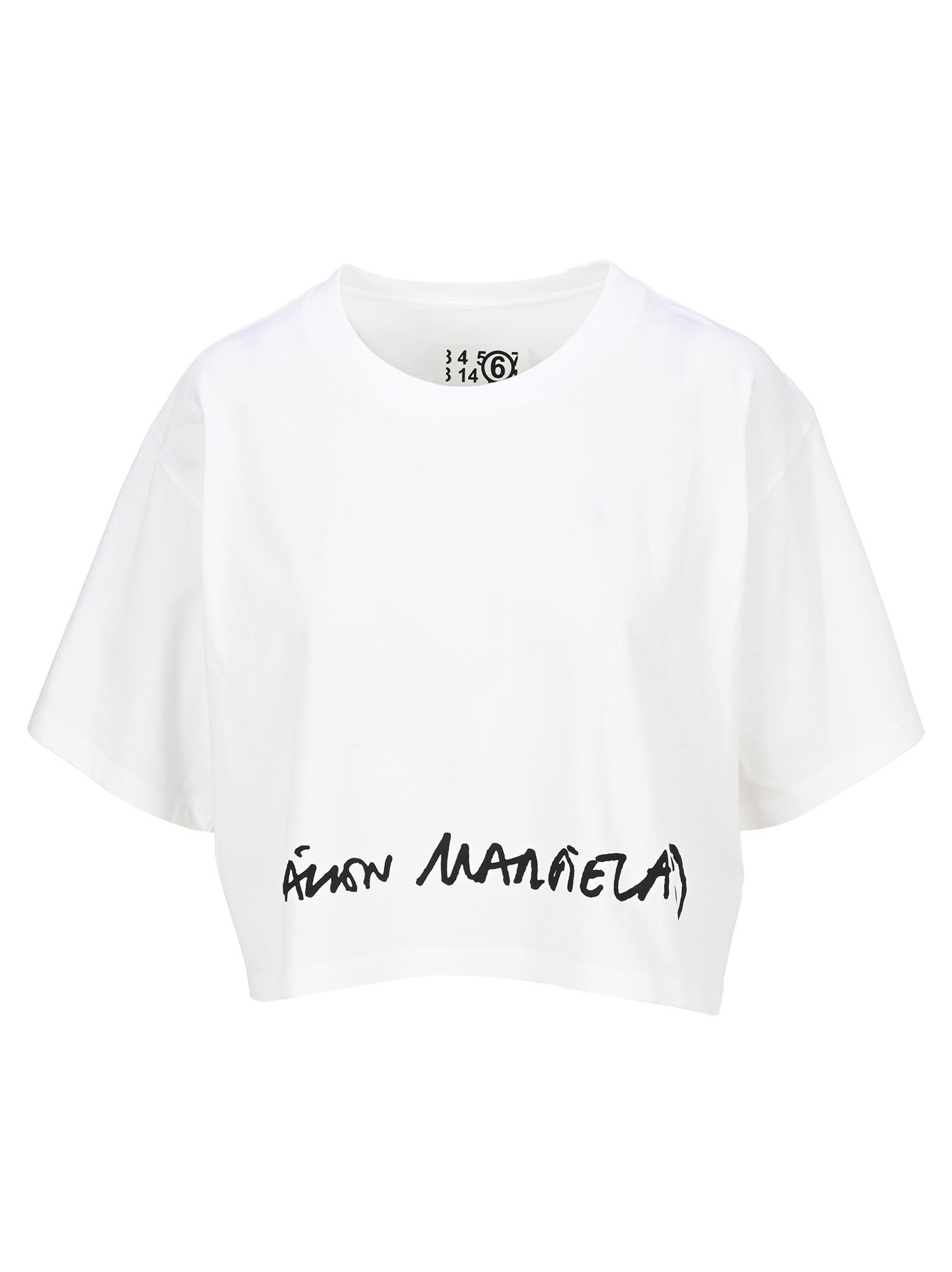 Mm6 Logo-print Cropped T-shirt