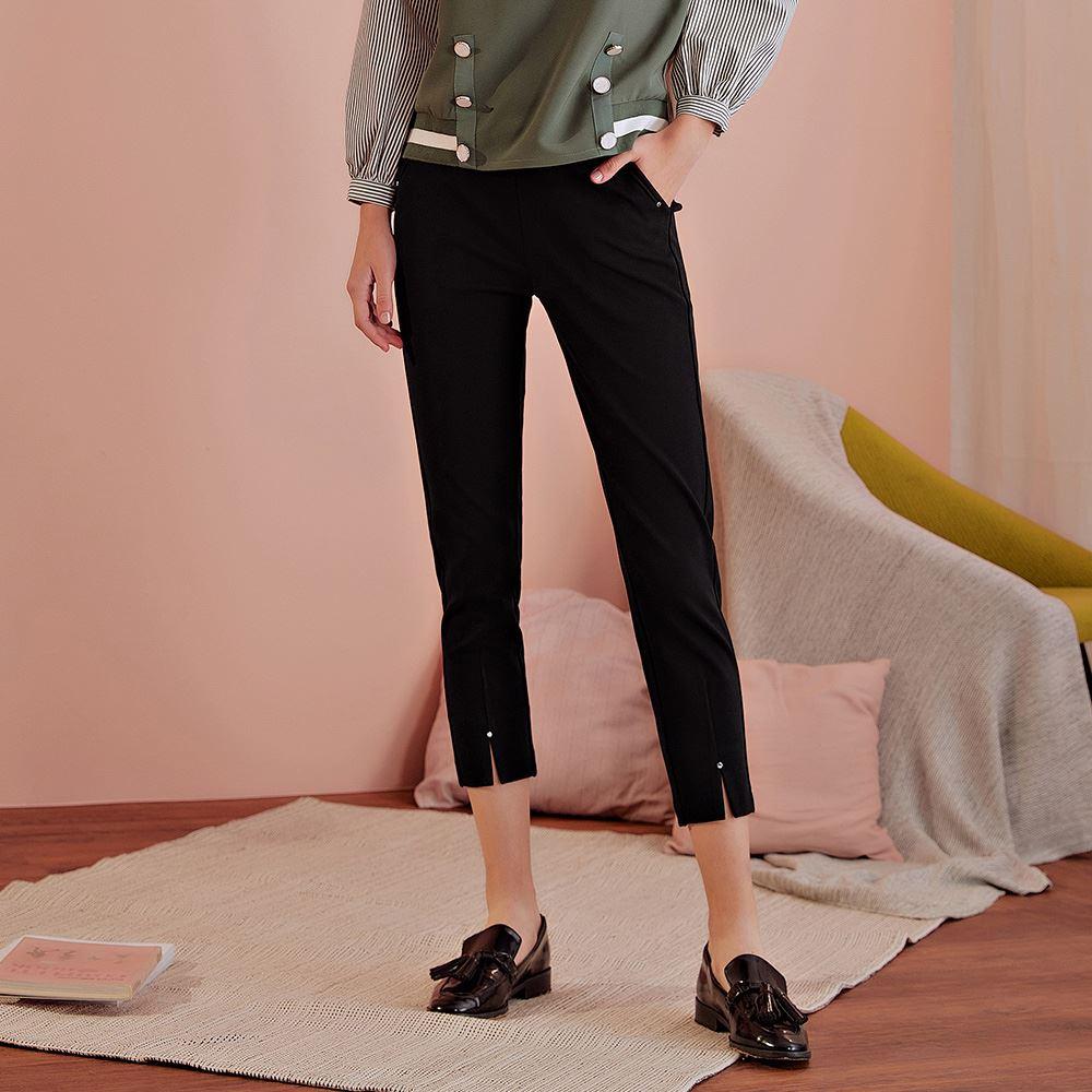 OUWEY歐薇 素色高彈性開衩窄管褲(黑)J61603