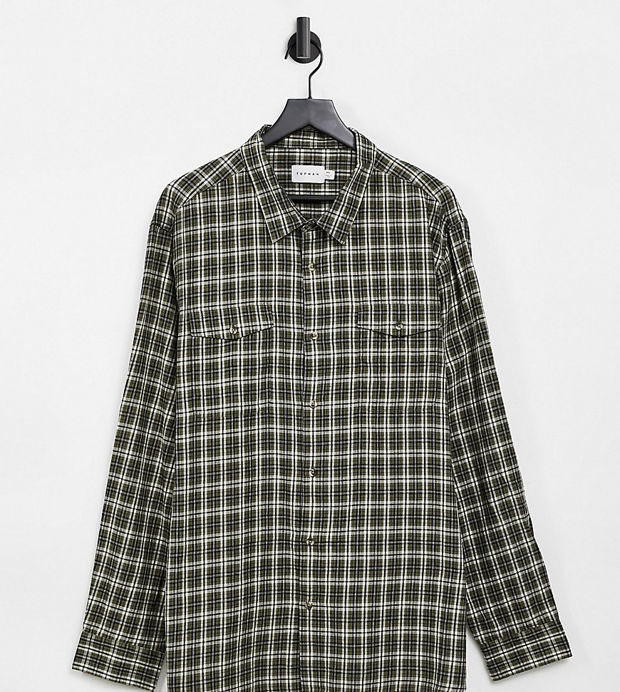Topman Big Khaki and yellow check shirt-Green