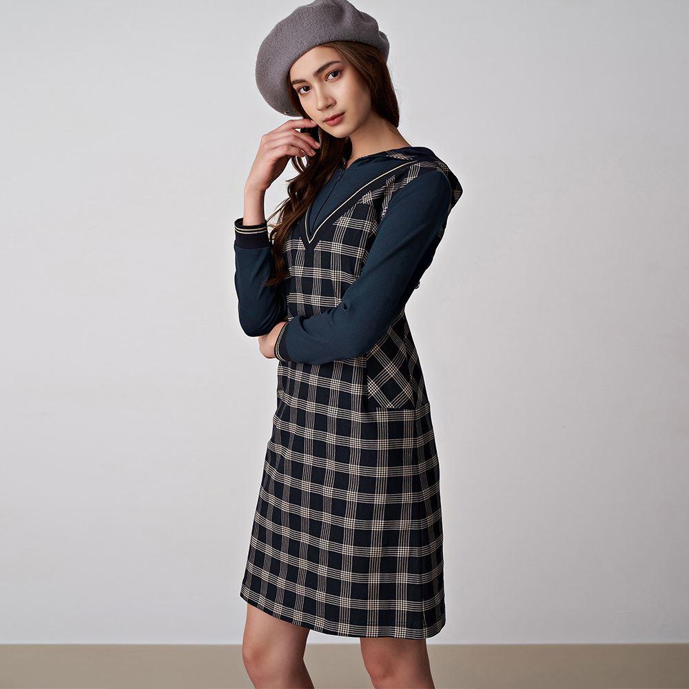 ILEY伊蕾 格紋假兩件連帽洋裝(藍)059744