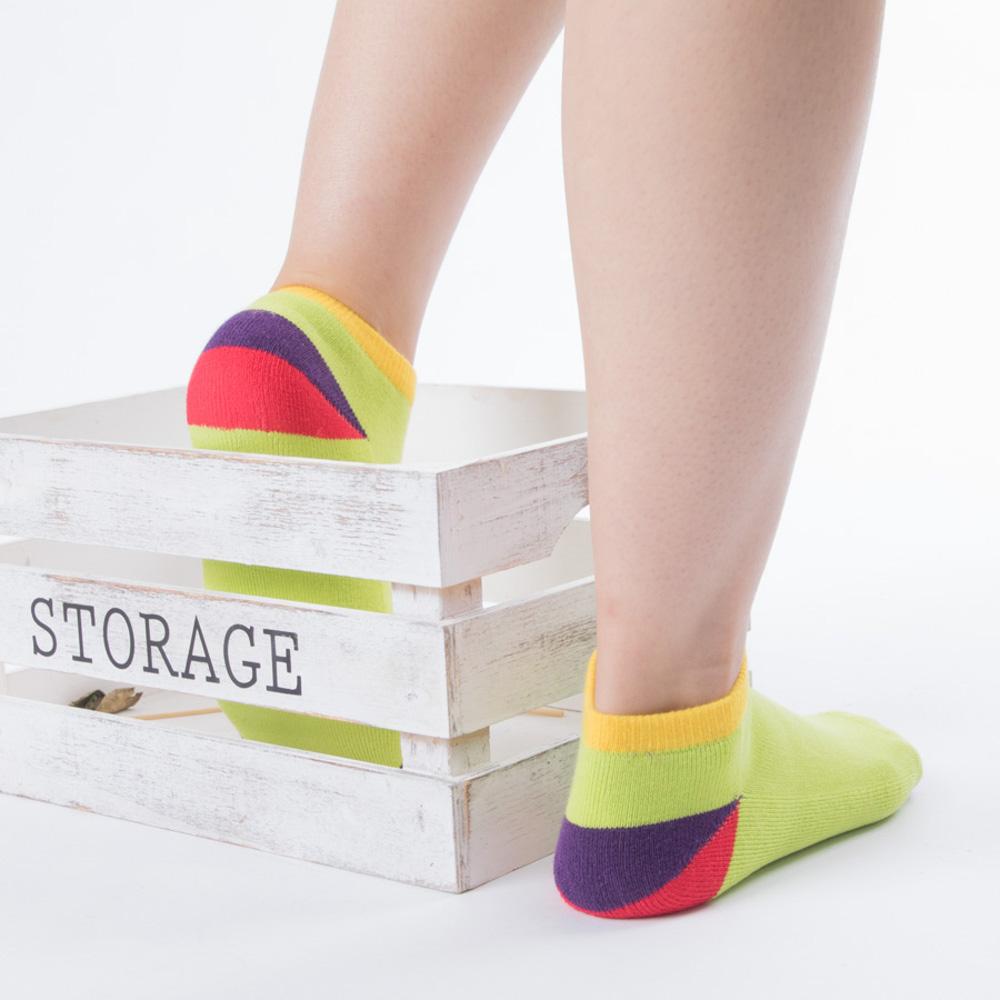 兒童2分幾何色塊踝襪-綠色(商品編號:S0600952)