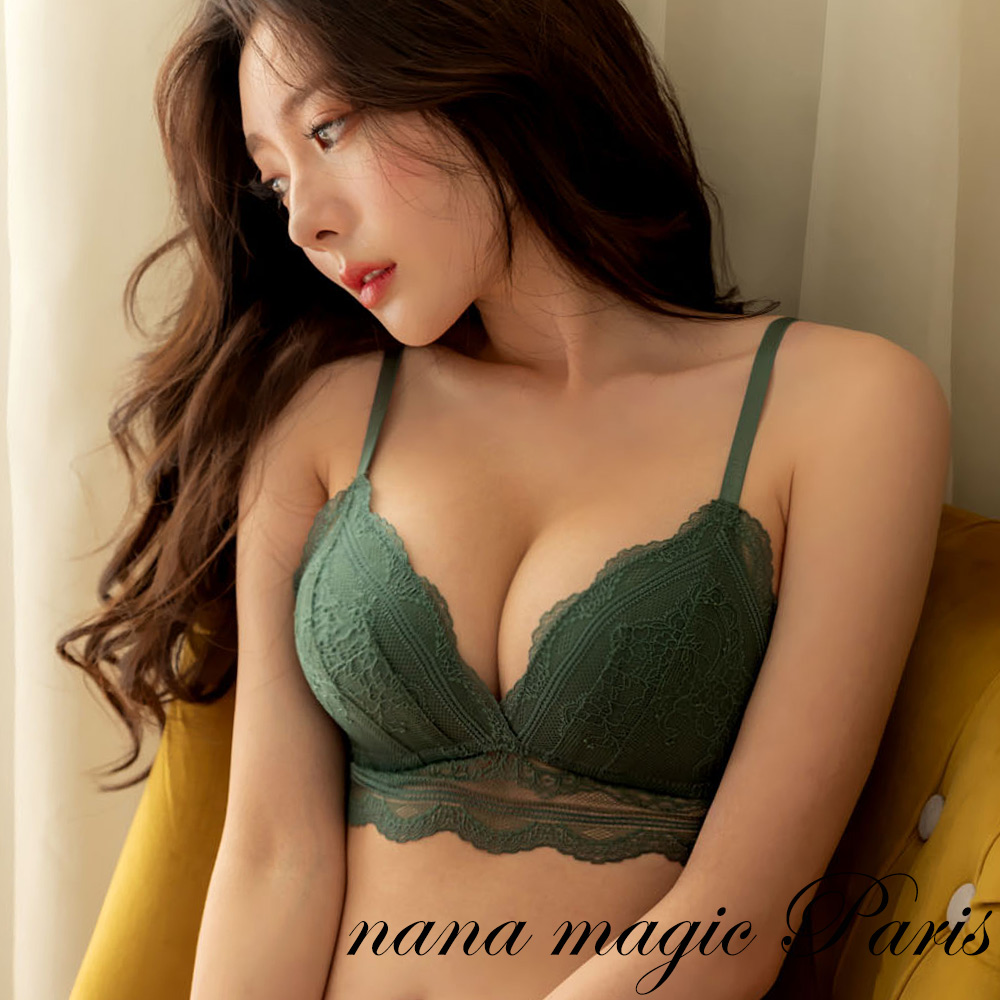 法國巴黎.漢娜可可法式內衣組(綠) nanamagic 內衣推薦 無鋼圈 蕾絲 深V