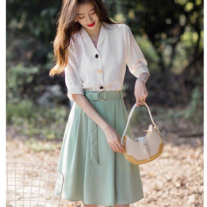 氣質配色兩件套(白五分袖上衣+草綠及膝裙)[99162-QF]灰姑娘