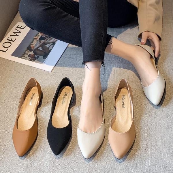 【限量現貨供應】尖頭鞋.MIT簡約素面側簍空平底包鞋.白鳥麗子